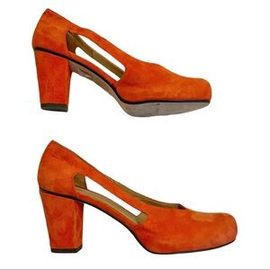 Audley London orange suede block heel peep sides